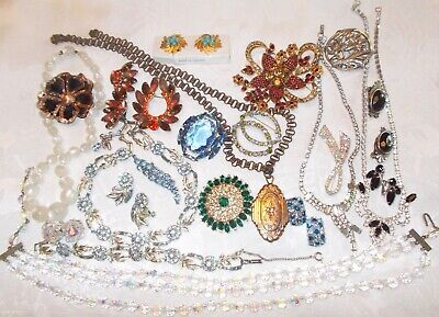 $ CDN189 • Buy Large Vintage Jewelry Lot Rhinestones Signed And Unsigned
