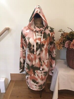 $ CDN24.09 • Buy Womens Absolutely Famous Tie Dye Fleece Hoodie Dress Med Pink/Grn/Orange