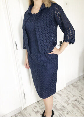 Vintage Navy Blue Lace Pencil Dress And Jacket Set Coord Size 12 • 39.99£