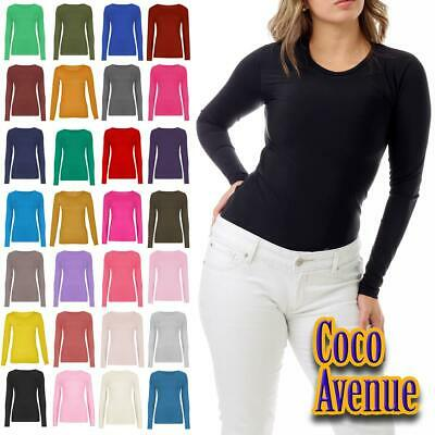 Ladies Long Sleeve Round Neck Plain Casual Basic Slim Fitted Womens T-Shirt Top • 5.95£