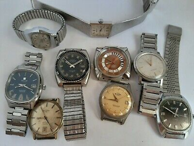 Job Lot Of 9 X Buler, Swiss Emperor, Cyma Etc Watches For SPARES OR REPAIR! • 38£