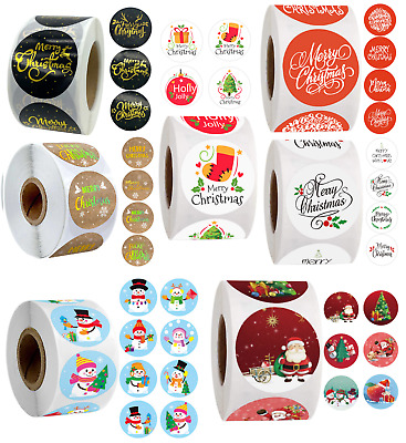 Christmas Stickers Presents Cards Gifts Happy Merry Xmas Stocking Labels 25mm • 1.89£