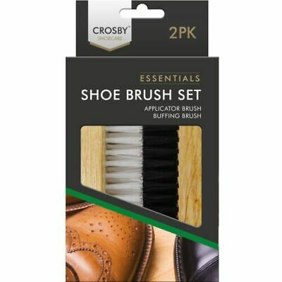 £4.89 • Buy Wood Brushes Boot Shoe Essentials 2pc Polish Buffing Buff Shine Leather Clean