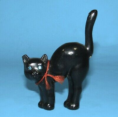 $ CDN17.17 • Buy Vintage Halloween Arched-back Black Cat Celluloid W/Jeweled Eyes 3 5/8  Tall