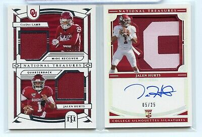$ CDN132.15 • Buy Jalen Hurts Ceedee Lamb 2020 National Treasures Rc Jersey Patch Auto /25 Lot-2