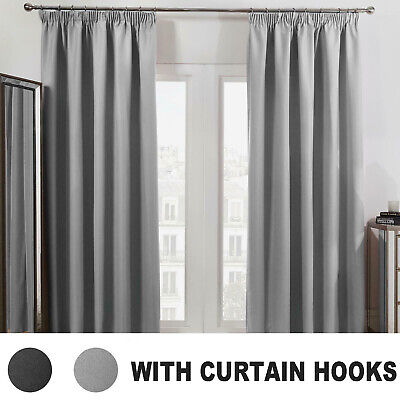 Dreamscene Pencil Pleat Blackout Curtains PAIR Of Ready Made Thermal Tape Top • 17.99£