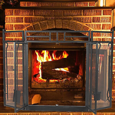 £82.44 • Buy Folding Fire Guard Freestanding 3 Panel Spark Fireplace Screen Protector Safety