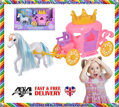 Princess Pumpkin Carriage & Horse Toy With Accessories X-mas Gift • 13.99£