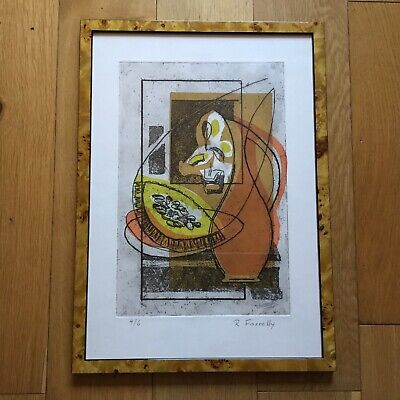 Midcentury Modern Abstract Still Life Ltd Edt 4/6 Etching Print Signed Farrelly • 40£