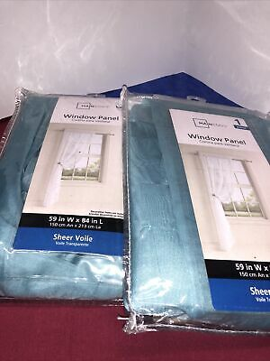 $14 • Buy Teal Sheer Curtains 59x 84 Mainstays Set Two