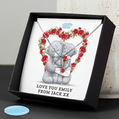 Personalised Me To You Valentine Sentiment Heart Necklace And Box • 14.99£
