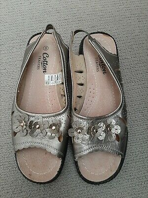 Cotton Traders Ladies Shoes Size 8 Slingback Sandals Pewter  • 4.95£