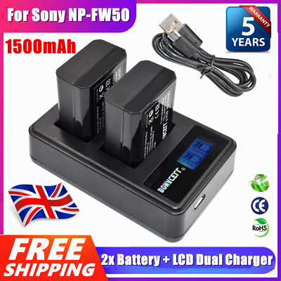 2x NP-FW50 Battery + Dual Charger For Sony Alpha A6500 A6300 A6000 A7s A7 A7s UK • 16.99£