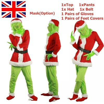 The Grinch Costume Halloween Cosplay Mens Christmas Santa Fancy Dress Outfit Set • 27.99£
