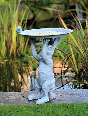 £19.95 • Buy Garden Ornament Bird Feeder Bath Rabbit Hare Statue Statue Grey Slate Effect