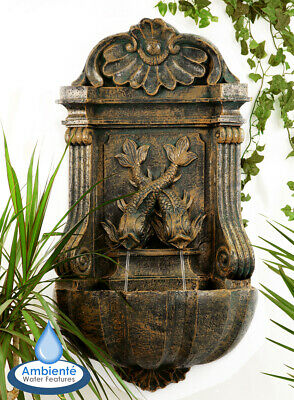 Wall Mounted Water Feature Drinking Fountain Cat Fish Aged Stone Effect Garden • 87.99£