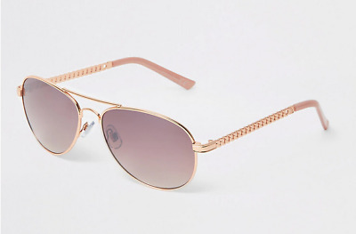 Rose Gold Pink Lens Chain Sunglasses • 10.99£