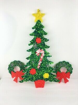 $ CDN13.14 • Buy Vintage Christmas Tree And Two Wreaths. Melted Plastic Popcorn Art