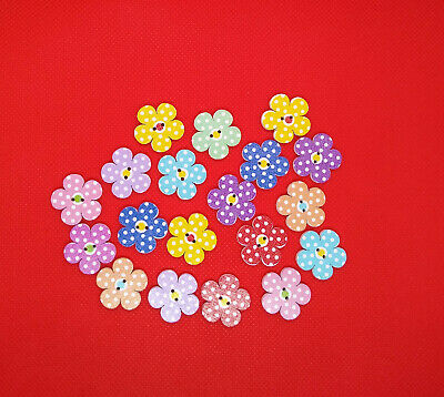 Pack Of 40 Flower Shaped Crafting Buttons Wooden Multicoloured  • 2.39£