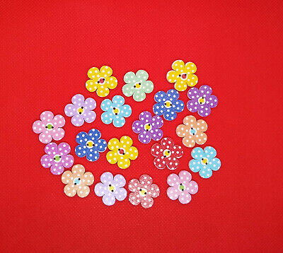 Pack Of 50 Flower Shaped Crafting Buttons Wooden Multicoloured  • 2.79£