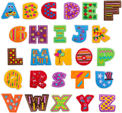 £0.99 • Buy Kids Embroidered Letter Patches Colourful Iron On Sew On Alphabet Badge Transfer