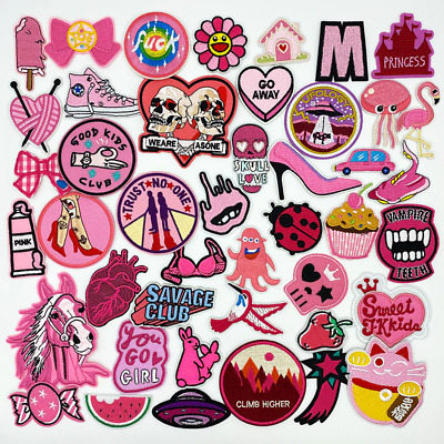 £2.19 • Buy Embroidered Patches PINK Sew On Iron On Biker Patch Badges Transfers Applique