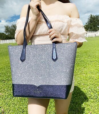 $ CDN139.21 • Buy Kate Spade Lola Joeley Glitter Penny Large Top Zip Tote Handbag Dusknavy Blue