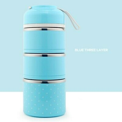 AU33.99 • Buy 3 Layer Stainless Steel Insulation Thermo Thermal Lunch Box Food Container New