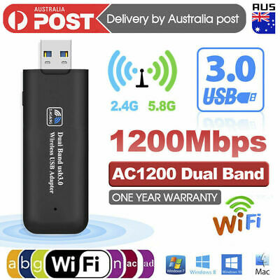 AU15.39 • Buy 1200Mbps USB 3.0 Wireless WiFi Network Receiver Adapter 5GHz Dual Band Dongle AU