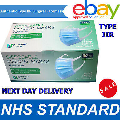 Type IIR 2R Surgical Mask 3-Ply Medical Grade EN14683 CE Approved 50 Face Masks • 15.99£