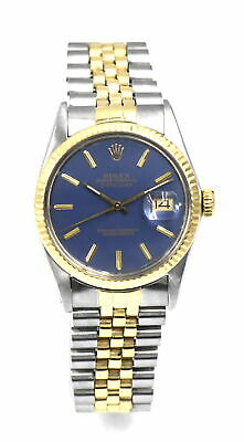 $ CDN2004.90 • Buy VINTAGE GENTS ROLEX DATEJUST 16013 WRISTWATCH BLUE DIAL 18K GOLD STAINLESS C1987
