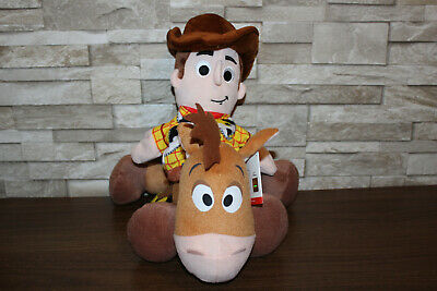 Toy Story Soft Plush 14  Bullseye With Tags & Woody Soft Hand Puppet • 19.99£