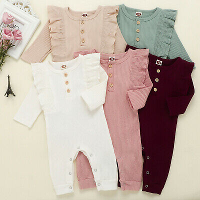 AU24.51 • Buy Newborn Baby Girl Romper Jumpsuit Outfits Kids Long Sleeve Ruffles Clothes F