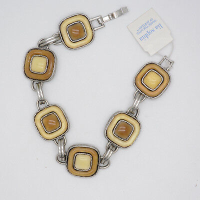 $ CDN9.34 • Buy Lia Sophia Jewelry Vintage Silver Square Charm Link Tennis Bangle Snap Bracelet