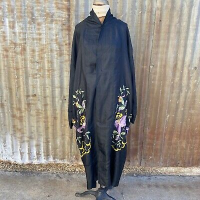 Antique 1920s Black Silk Piano Shawl Coat Purple & Yellow Embroidery Flowers • 213.20£