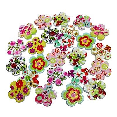 50 20mm WOODEN FLOWER SHAPE BUTTONS - MIXED DESIGNS - CRAFT - SEWING - CARDS • 2.59£
