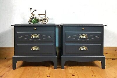 Pair Of Bedside Cabinets, Stag Bedroom Furniture, Dark Blue And Gold 1970s Retro • 445£