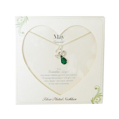 £8.29 • Buy Guardian Angel May Birthstone Necklace With Gem Stone Sentimental Gift Idea