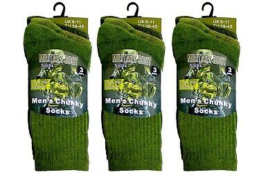 Men's Army Socks Thermal Long Hair Cushion Military Combat Boot Socks Size 6-11 • 8.99£