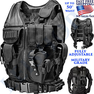 $49.98 • Buy Tactical Vest With Holster Ammo Pouch Police Law Hunting Black One Size Military