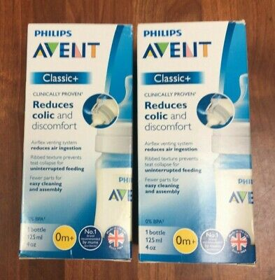 AU26.72 • Buy 2 X Philips Avent Classic + Baby Bottle 125ml/4oz Each 0m+ Brand New In Box