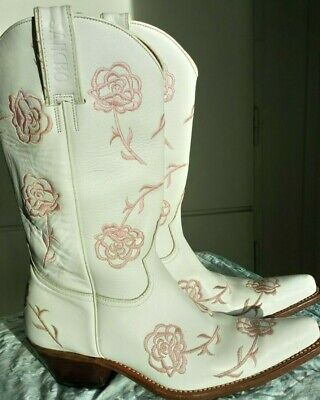 £81.58 • Buy Sancho White Pink Roses Leather Cowboystiefel Western Boots Gr.40