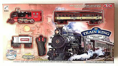 Classic R/C Train Set Railway Toy Carriage Real Steam Smoke Horn Sound Lights • 19.99£