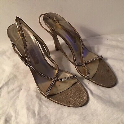 Gina Shoes Size 7 Silver Evening Shoes Silver Diamonds Straps Stilettos Designer • 65£