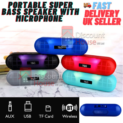 £11.99 • Buy New Portable Super Bass Wireless Bluetooth Speaker Microphone With Led For Ipads