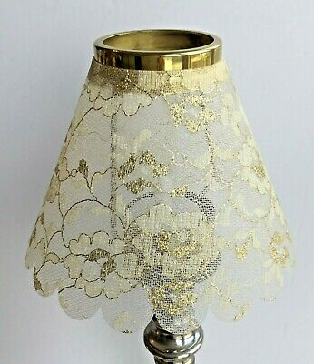 New Small Shade Gold & Cream Lace For Carrier Electric Tea Light Or Candle  • 10£