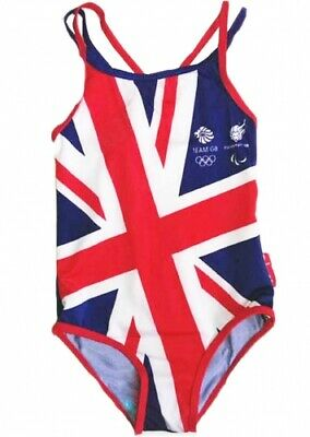 Girls Children Official Team GB Olympic Great Britain England Swimming Costume • 2.99£