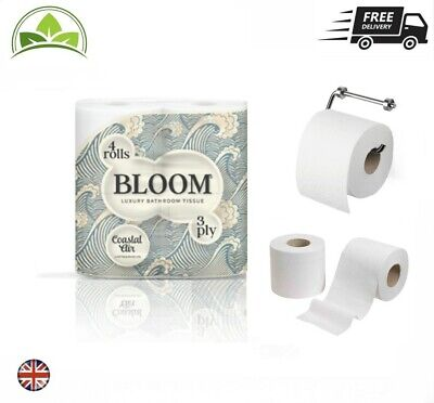 £19.99 • Buy Toilet Rolls 3Ply Bloom Luxury Toilet Paper Strong High Quality Tissue Rolls