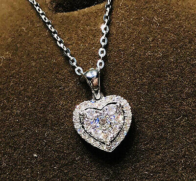 Heart Crystal Pendant 925 Sterling Silver Chain Necklace Womens Ladies Jewellery • 3.79£