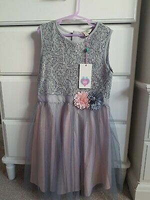 BNWT Yumi Girls Sequin Tulle Party Dress Age 9-10 • 20£